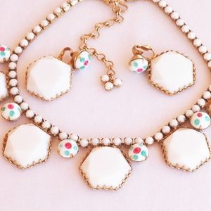 Alice Caviness Milk Glass Necklace Earring Set VTG